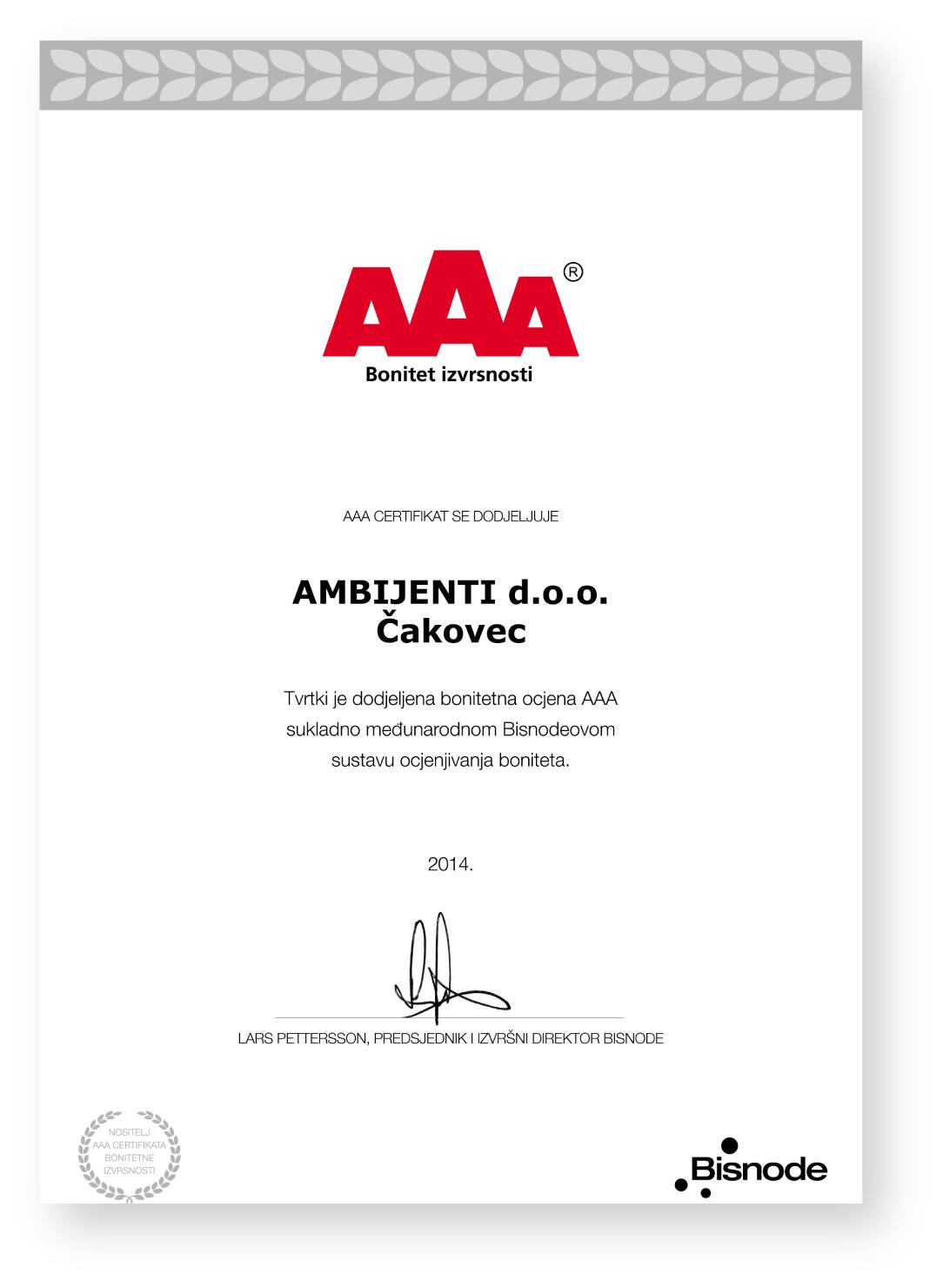 Certifikat - AMBIJENTI d.o.o.